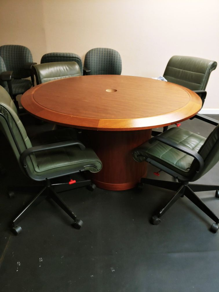 Conference room table and 4 chairs 150.00