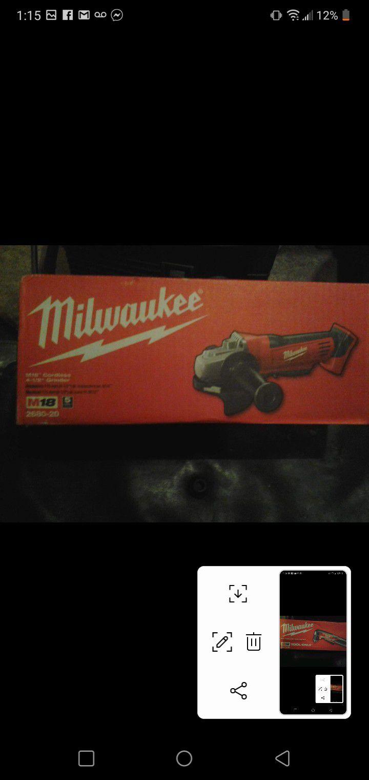 Milwaukee M18 cordless 4-1\2 grinder