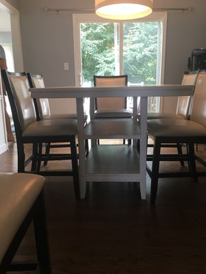White Pub Table with 6 Pub Chairs for Sale in Falls Church, VA