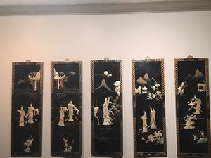 6 total carved Asian wall art for Sale in Atlanta, GA