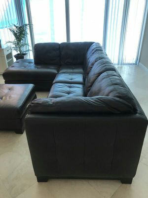 Espresso Leather Sectional with Matching Ottoman for Sale in Oakland Park, FL