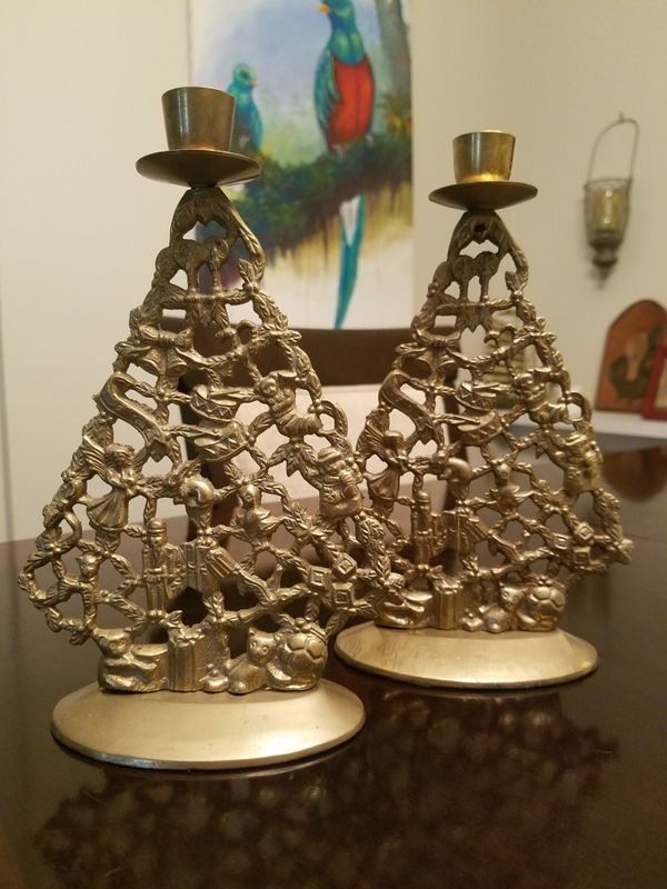 Vintage Brass Christmas Tree Candle Holder.Vintage Brass Christmas Tree Candle Holders For Sale In Davie Fl Offerup