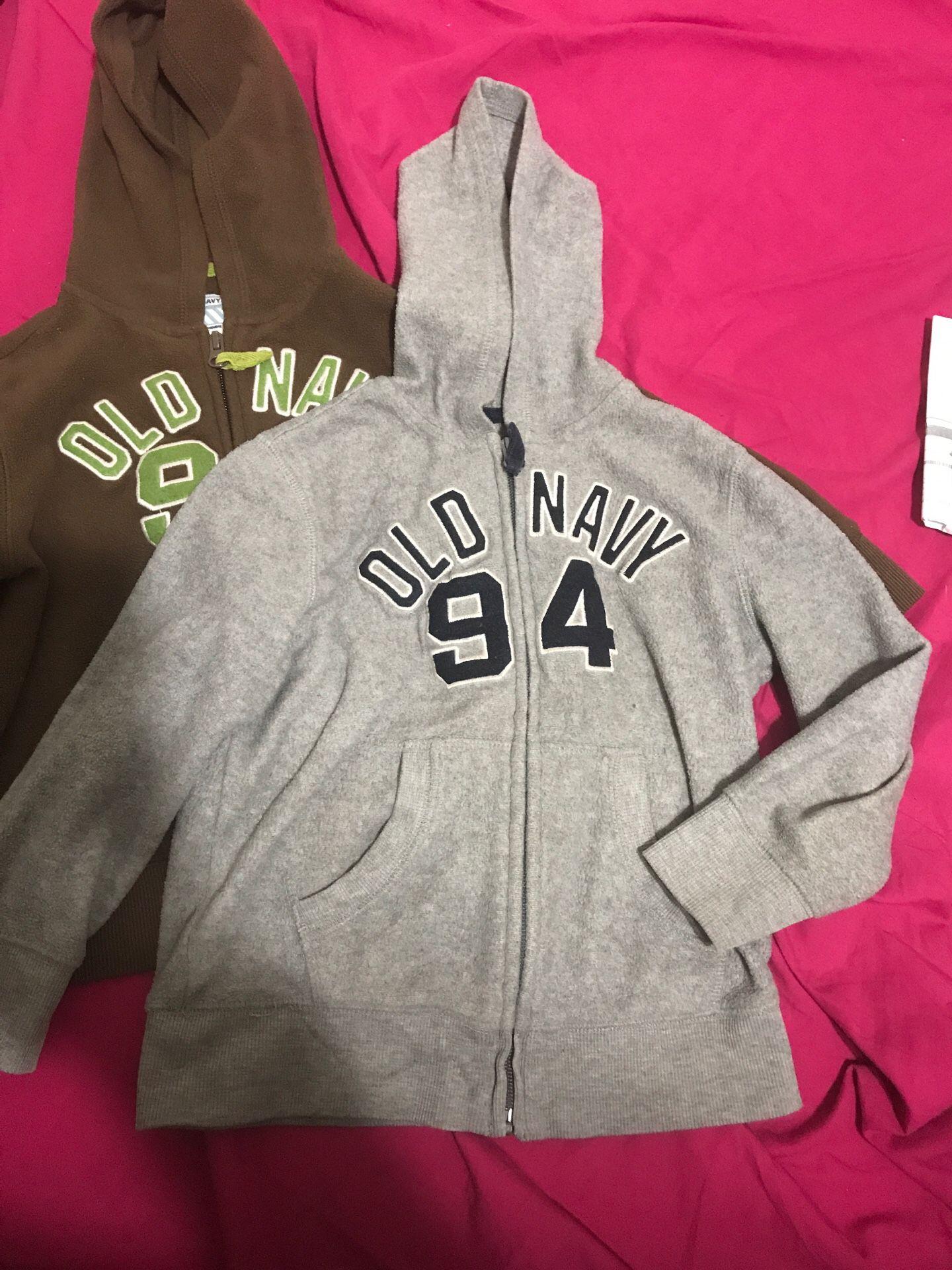 Boys size 5 fleece hoodie sweaters- set of 2