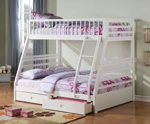 TWIN /FULL BUNK BED W DRAWERS WHITE for Sale in Miami, FL