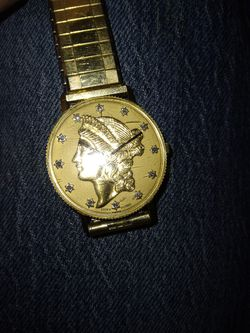 14k Gold Lucien Piccard Swiss Gold Coun With Diamonds Watch Thumbnail
