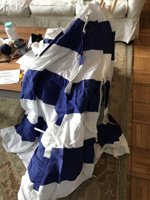 Blue and white striped Teepee with mesh window for Sale in Alexandria, VA