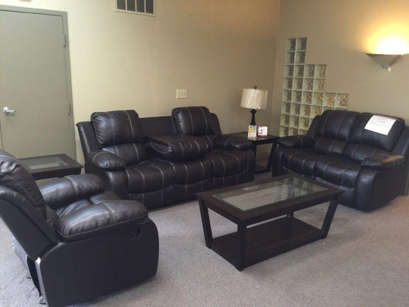 3 pieces dark brown reclining sofa set
