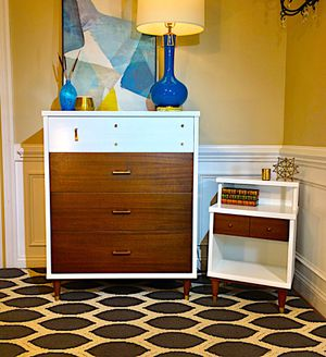 Mid Century dresser/chest and nightstand for Sale in Cary, NC