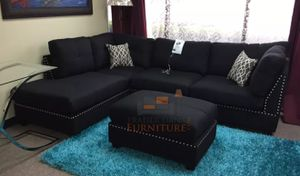 Brand new black linen sectional sofa with ottoman (firm price/final price) for Sale in Silver Spring, MD