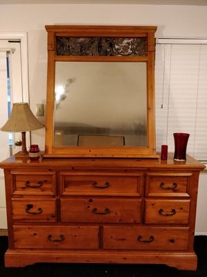 "Nice wooden big dresser with big mirror and 8 drawers in good condition. L66""*W18.3""*H37.5"" for Sale in Annandale, VA"