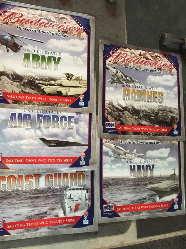 Budweiser Budlight Military Army Air Force Marines Navy