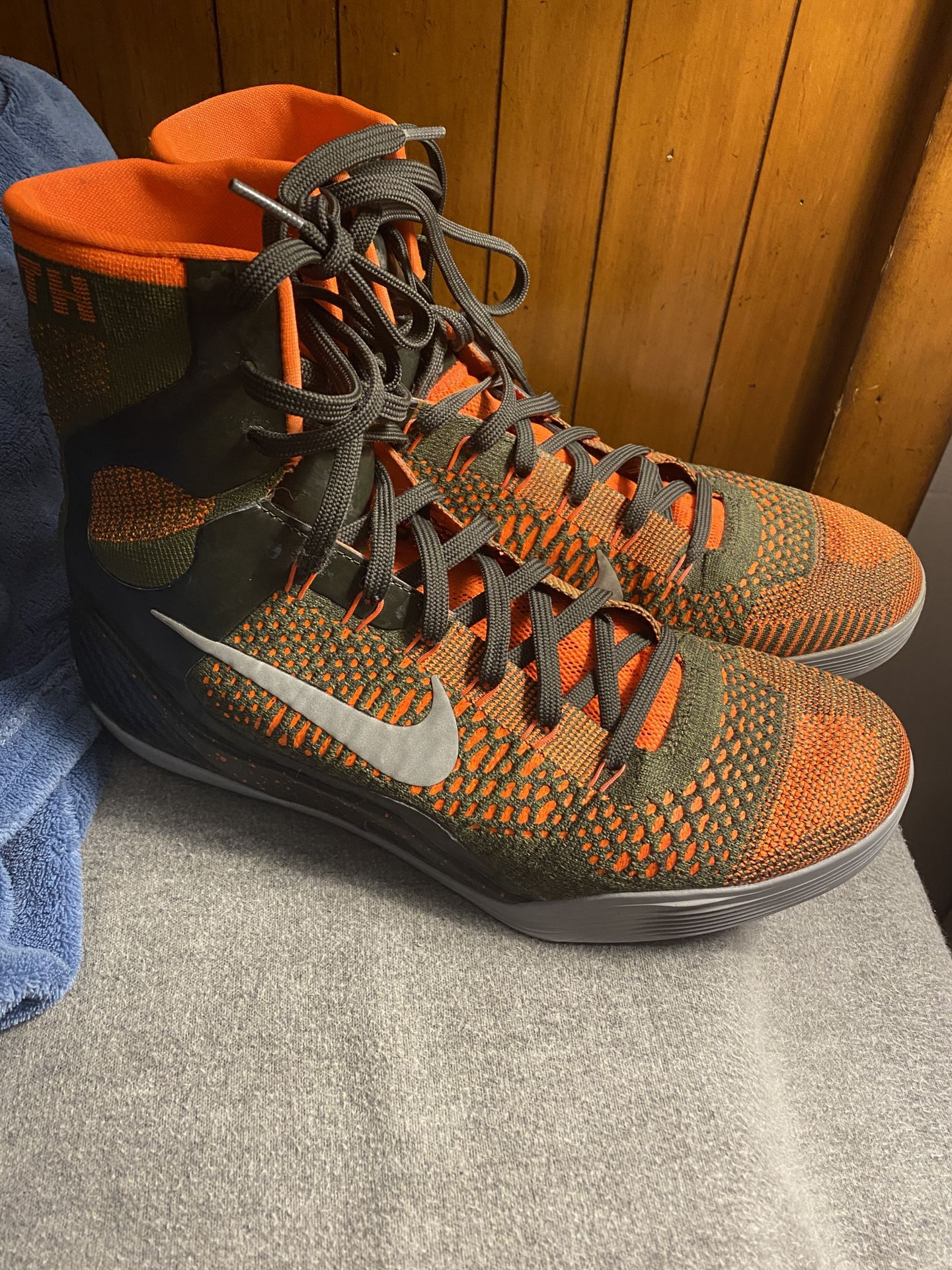 Kobe 9 elite high neon orange and army green