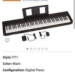 YAMAHA P71 88-Key Weighted Action Digital Piano With Sustain Pedal And Power Supply (Amazon-Exclusive) Thumbnail