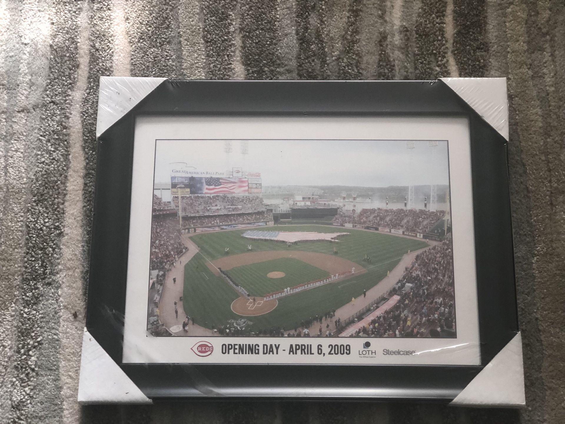 Cincinnati Reds Opening Day - April 6, 2009 Framed Photo