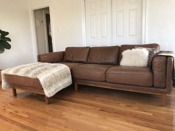 West Elm Dekalb Leather Chaise Sectional