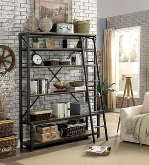 Powder Coated Black Metal Bookshelf Bookcase With Ladder For Sale In Hacienda Heights CA