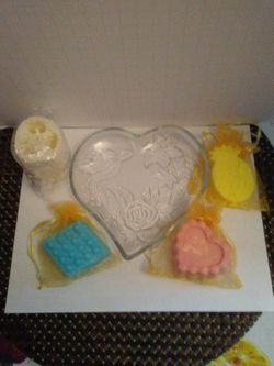 Homemade Scented Soap Set in Etched Glass Dish!!! Thumbnail