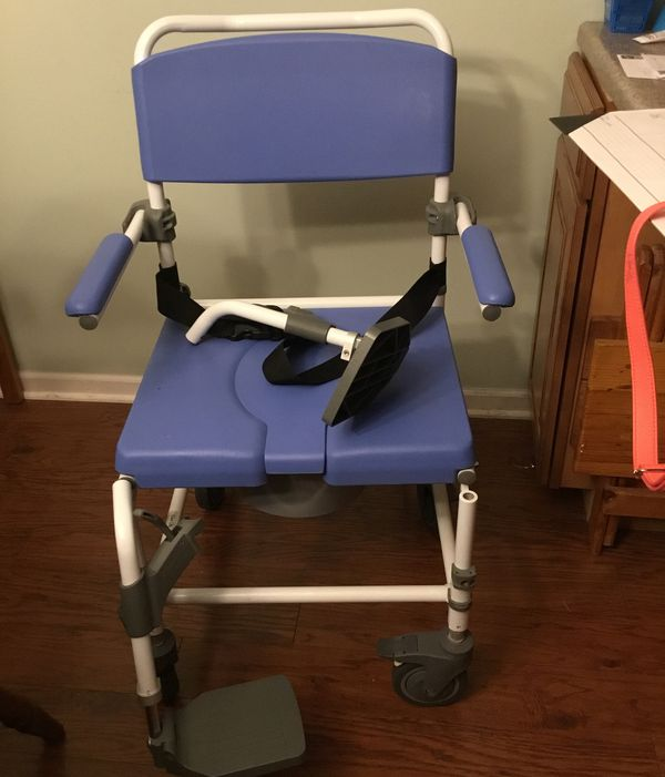 Ezee Lite wheeled commode and shower chair combination. Leg rests ...