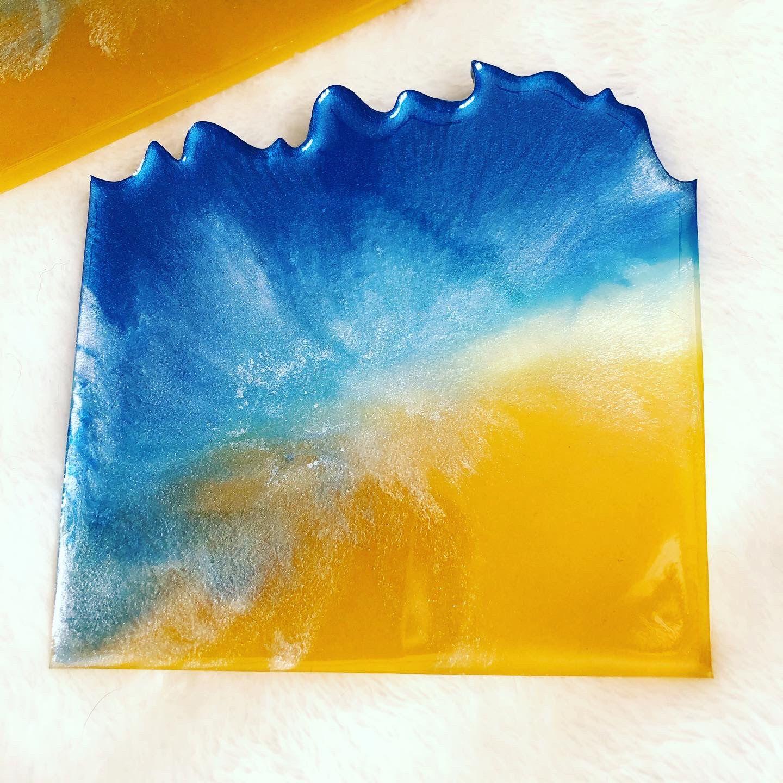 Epoxy Resin Beach Themed Coaster Set Of 4
