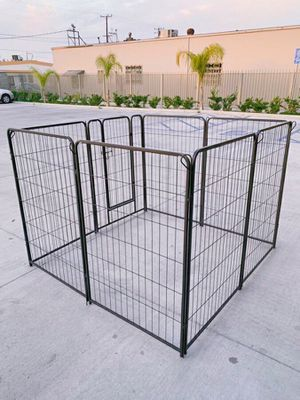 Photo New 48 Tall x 32 Wide Panel Heavy Duty 8 Panels Dog Playpen Pet Safety Fence Adjustable Shape and Space with Sunshade Tarp Canopy Cover