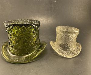 Photo VTG FENTON Daisy Button Pair of Glass Top Hats ToothPick Holders (Green & Clear)-Price for Both!