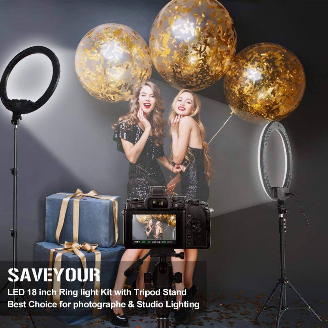 18 Inch Ring Light with Stand, Dimmable LED Ring Light with Carry Bag, Phone Holder & Pad Holder, Lighting for Live Stream/Makeup/Video/Camera/YouTube