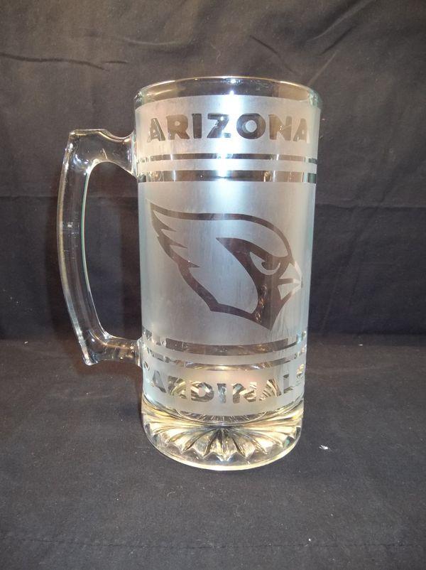 arizona cardinals etched beer mug 25 oz for sale in phoenix az