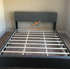 Brand New King Size Grey Linen Upholstered Platform Bed Frame for Sale in Silver Spring, MD
