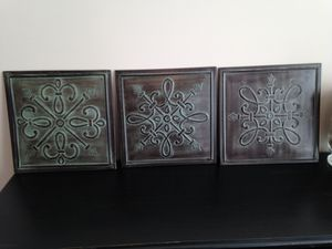 3 pieces: Metal wall art, 14 x 14 each for Sale in Sterling, VA