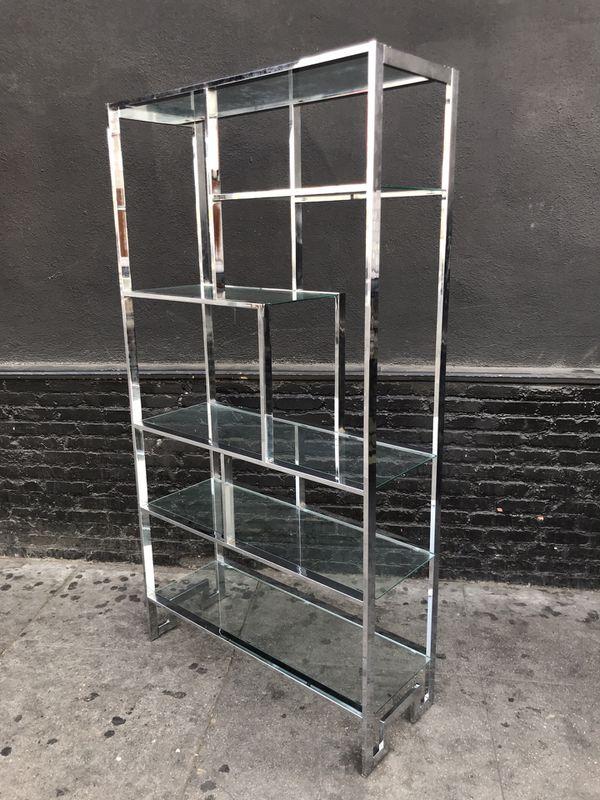 Fine Mid Century Chrome Etagere Glass Shelves By Milo Baughman Home Remodeling Inspirations Basidirectenergyitoicom
