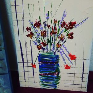 Flower abstract acrylic on canvas wall art for Sale in Austin, TX