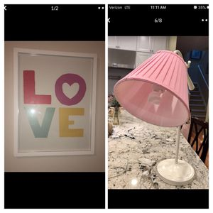 Photo Pottery Barn Teen table lamp & LOVE 💕 hanging artwork