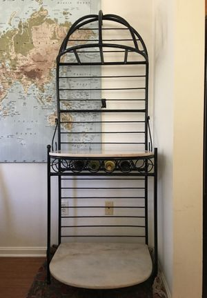 Marble and wrought iron bakers rack and wine storage made in Turkey for Sale in Alexandria, VA