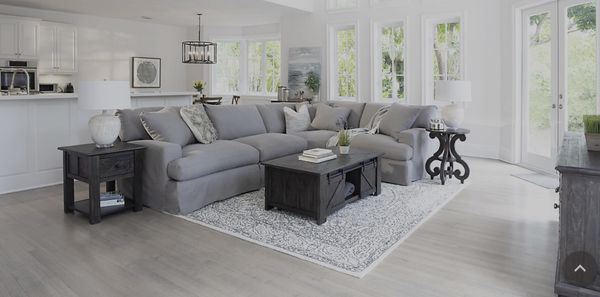 Delilah Gray Fabric Small Two-Arm Sectional couch slipcover sofa ...
