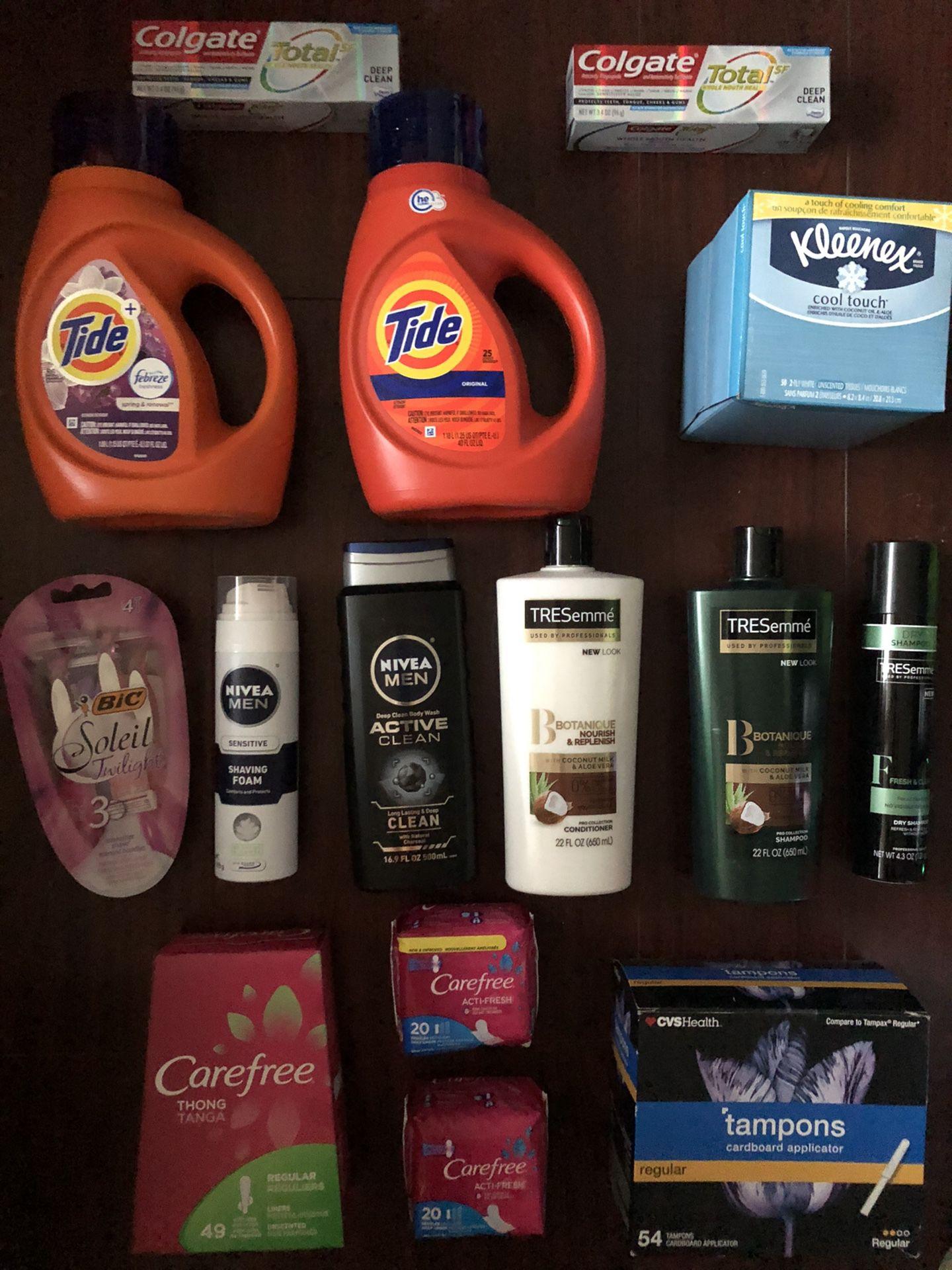 2 Tide; 1 Tampons (50ct); 3 Carefree; 3 Tresemme; 2 Nivea: Body wash & Shave Gel; 1 Bic Razors; 1 Kleenex; 2 Toothpastes: $60