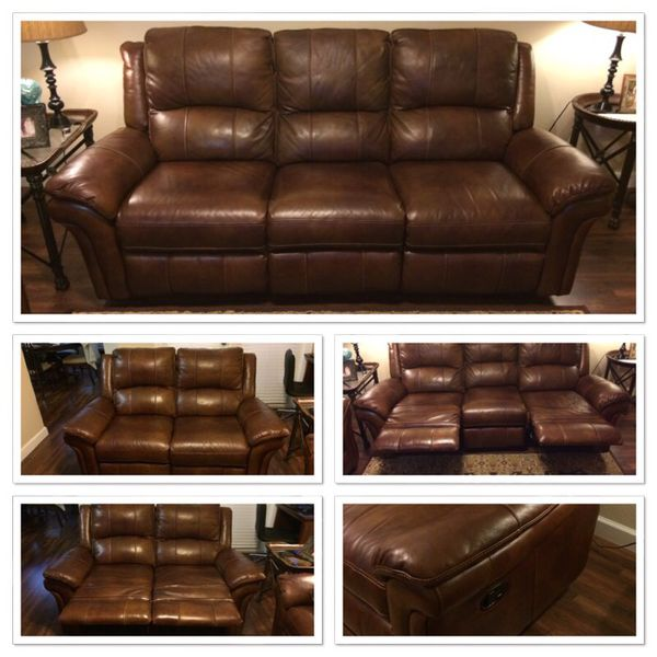 Enjoyable Havertys Payton Cognac Leather Reclining Sofa Loveseat For Sale In Tampa Fl Offerup Home Interior And Landscaping Ologienasavecom