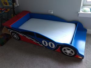Kidkraft Toddler Racecar Bed and Mattress for Sale in Chicago, IL