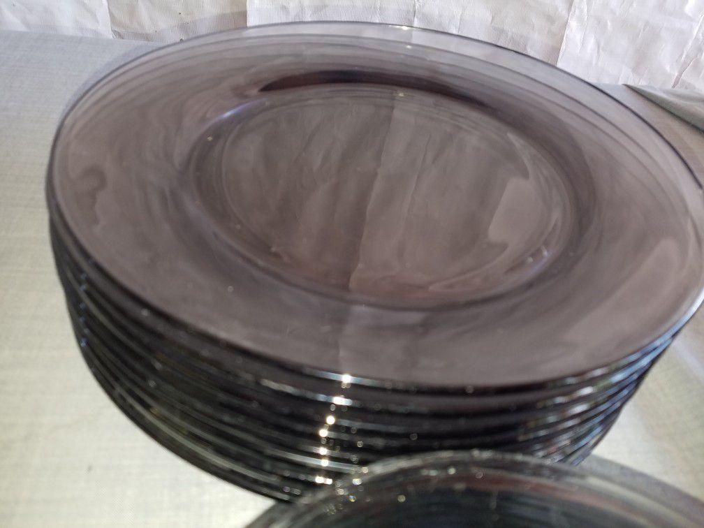 "Brown glass dinnerware 8 dinner plates 10 1/2"", 6 salad plates 7 3/8"" A126Z567"