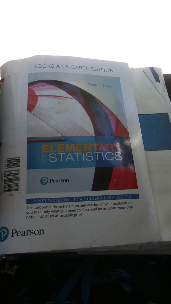 Mario F Triola Elementary Statistics Pearson for Sale in Lynwood, CA -  OfferUp