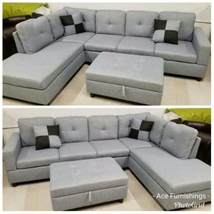 Brand New Light Grey Linen Sectional With Storage Ottoman & Tax Free for Sale in Federal Way, WA