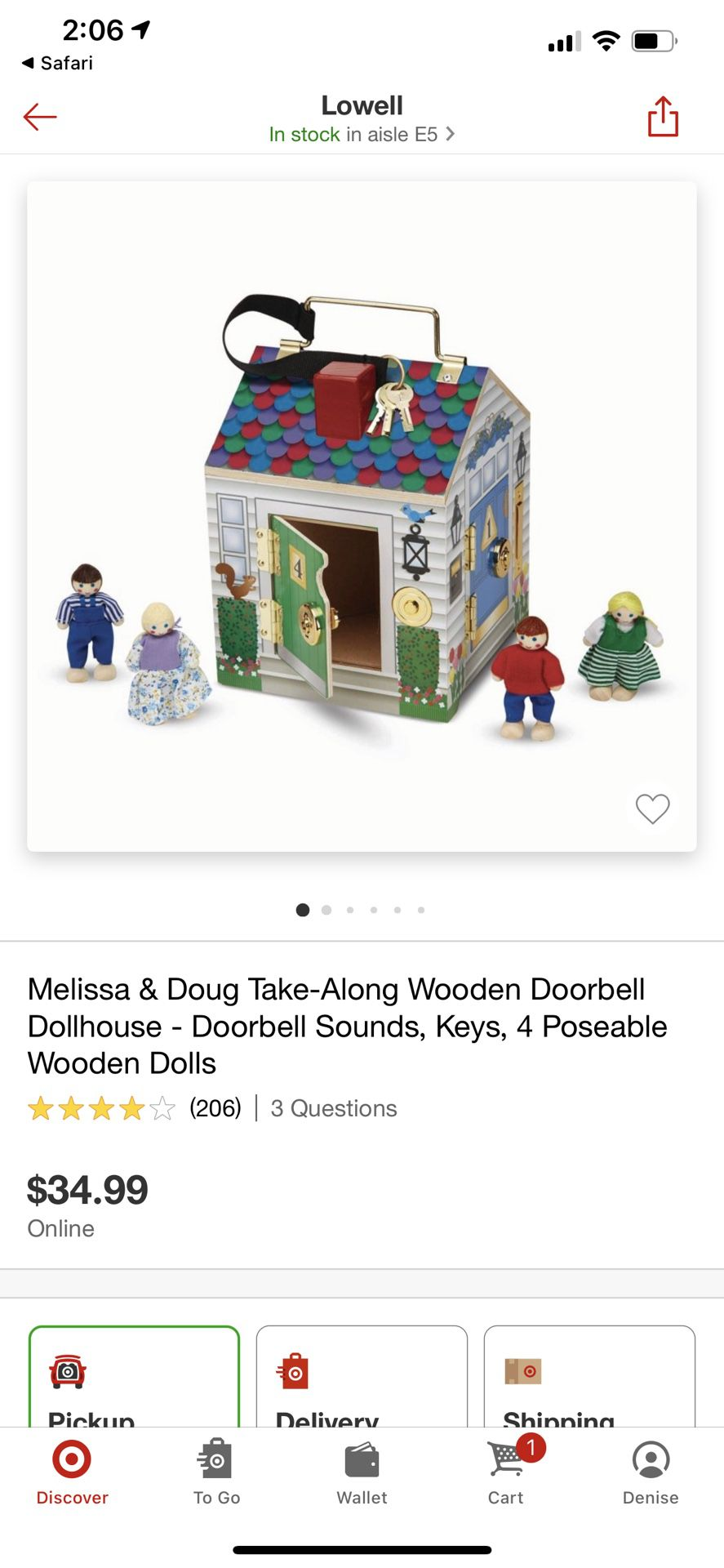 Melissa And Doug Wooden Doorbell Doll House With Keys And Dolls