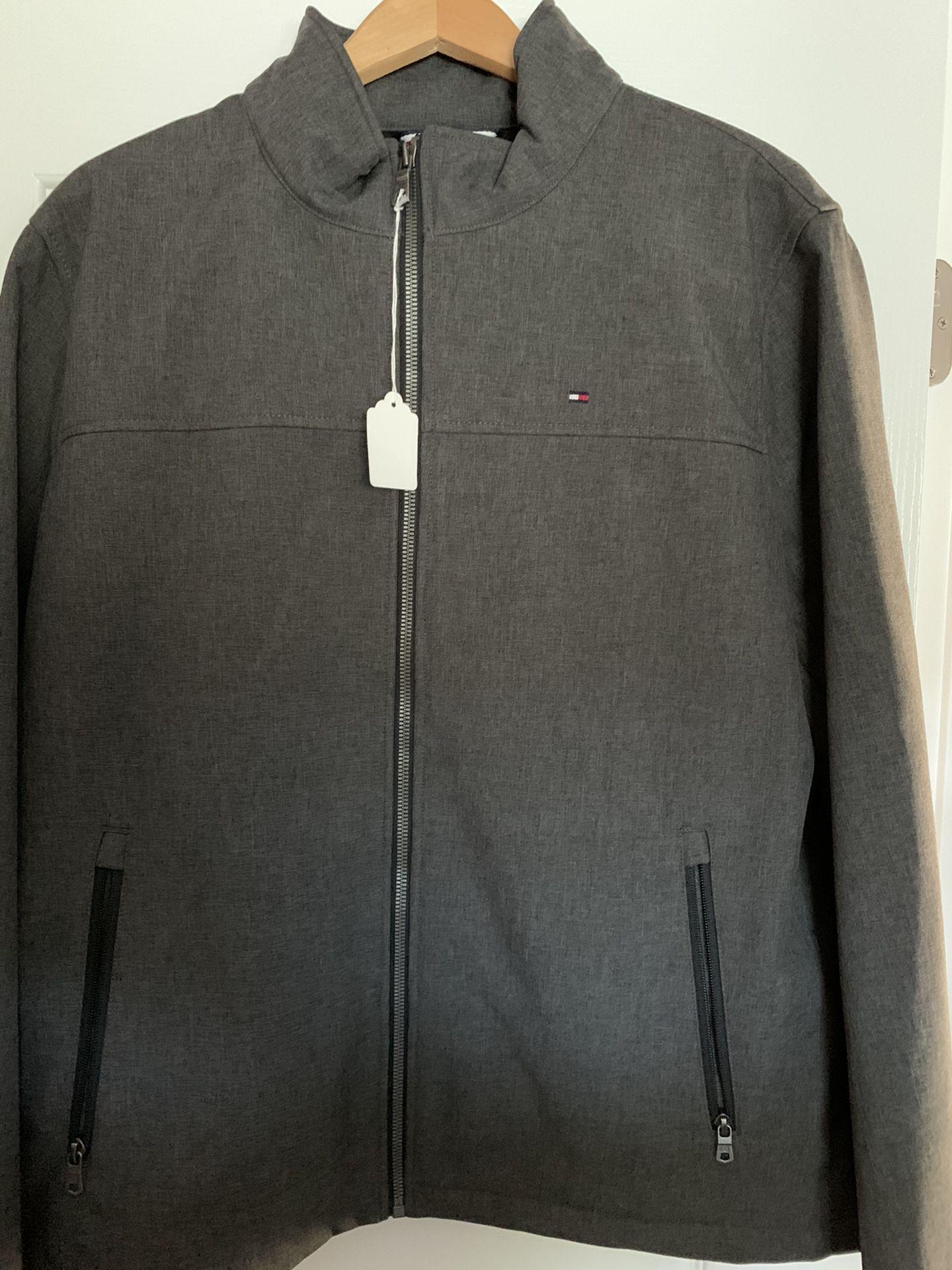 Men's Tommy Hilfiger Brand Zippered Jacket Size Largr Dark Gray.