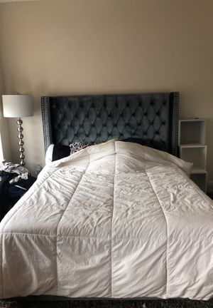 Plush Grey Bed Frame (with headboard) for Sale in Houston, TX