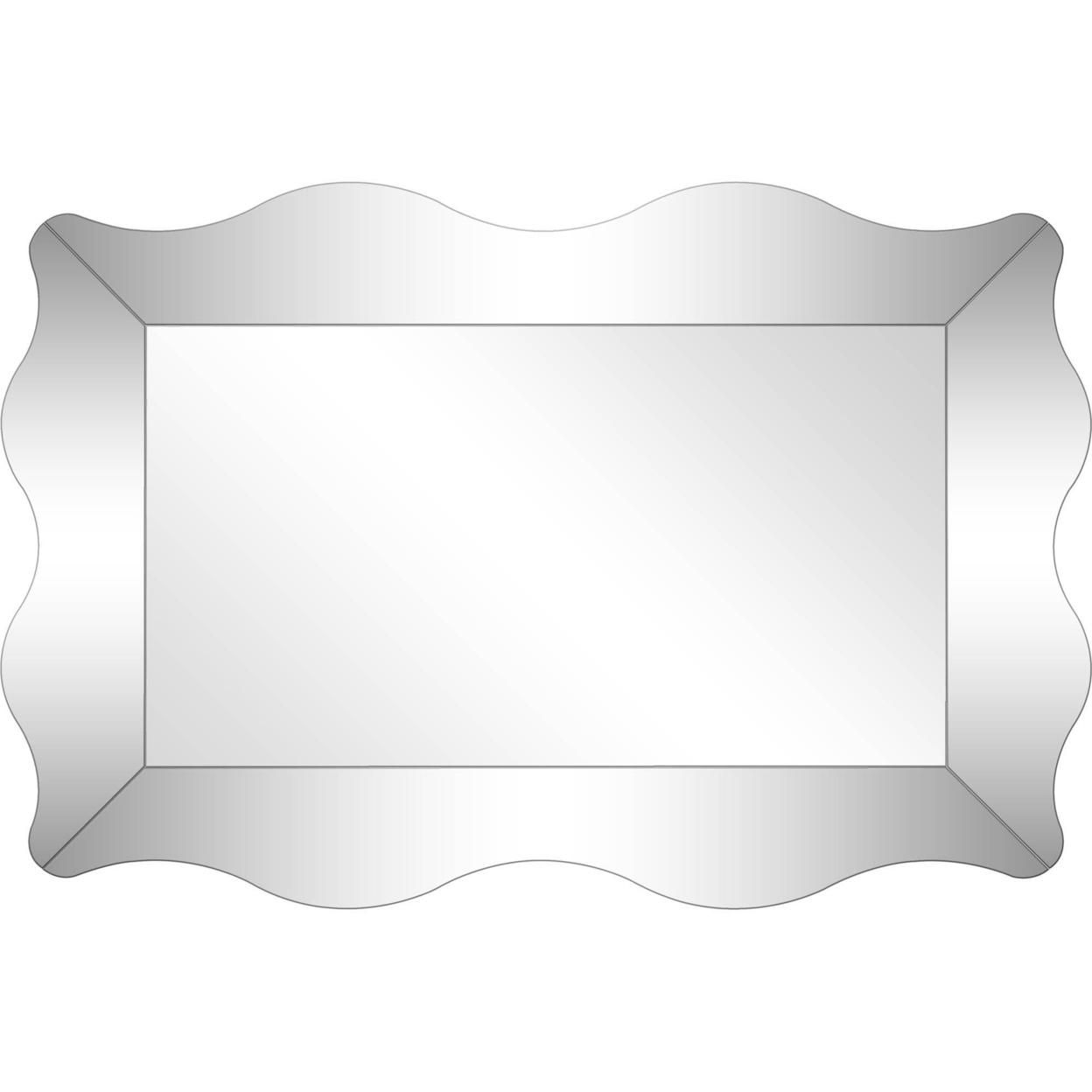 """Camden Isle Home Contemporary Decorative Wall Mounted Antonella Beveled Accent Mirror - 23.63""""W x 35.38""""H, Clear"""