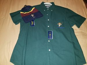 Photo Ralph Lauren LARGE Polo Kicker Bear button down with matching skully.