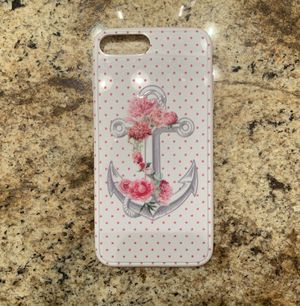 iPhone 8 Plus White/Pink Polkadot Anchor/Flower phone case for Sale in Banning, CA
