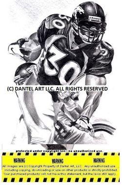 JOHN ELWAY SHANNON SHARPE ROD SMITH MIKE SHANAHAN TERRELL DAVIS Super Bowl 32 & 33 Denver Broncos Lithograph Pencil drawing print set 8x10 Limited Ed Thumbnail