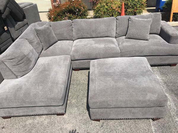 Remarkable Bainbridge Fabric Sectional With Ottoman Sofa Set Used As Theyellowbook Wood Chair Design Ideas Theyellowbookinfo