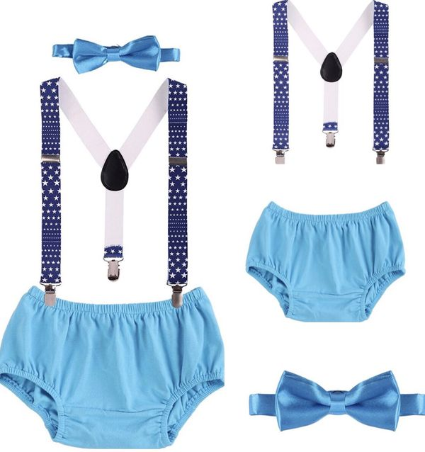 Baby Boys Cake Smash Outfit First Birthday Bloomers Bowtie Suspenders Clothes Set