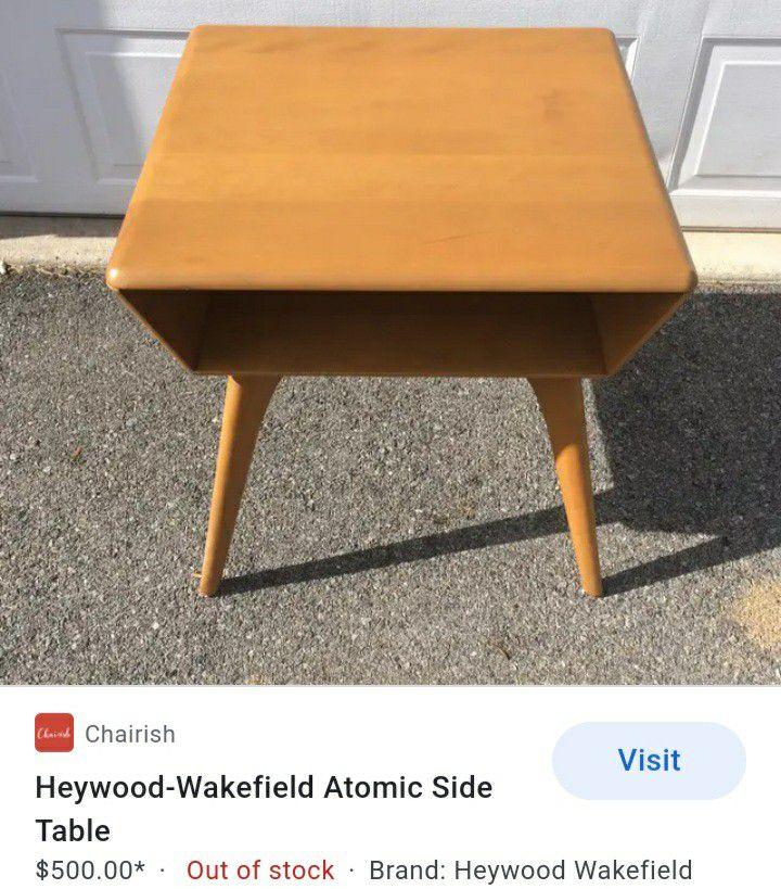 Vintage Mid Century Modern Heywood Wakefield Atomic Side Table